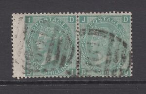 """Pair of GB QV 1s. Green SG117 Plate 6 """"DI/DJ"""" Used 1871 One Shilling Stamps"""
