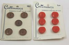 Vintage Costumakers Buttons - 2 Cards - Red 5101 & Brown 5086 - Total 11 Buttons
