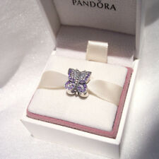 Genuine Pandora PURPLE SPARKLING BUTTERFLY Charm Silver Authentic