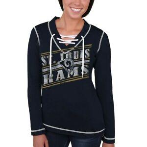 💯% Genuine St. Louis Rams Women's Queen V-Neck Pullover Sweatshirt L - Blue