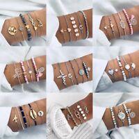 Fashion Women Bangle Bracelet Set Rhinestone Boho Beaded Chain Gift Jewelry