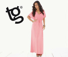 BNWT NEW LADIES TG CORAL PINK MAXI GRECIAN DRESS SIZE 8 BATWING SUMMER PARTY
