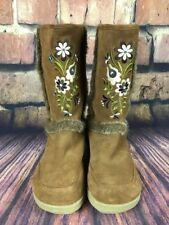 Report Nanuk Suede Brown Boho Floral Embroidered shearling fur Boots Size 6 1/2
