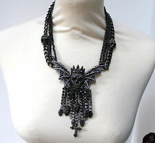 Butler and Wilson Pewter Skull Wing Side Tassell Multi Chain Necklace NEW LAST 2