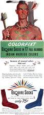 American Indian Warrior Colors ESQUIRE SOCKS Pee-Wee Wampum Un-PC 1949 Print Ad