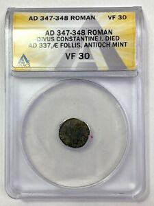AD 347-348 Roman Divus Constantine I Æ Follis, Antioch Mint ANACS VF 30