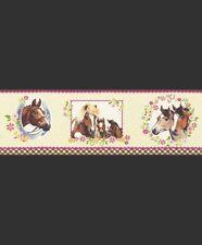 BROWN PINK HORSE HORSES GIRLS CHILDRENS WALLPAPER BORDER 5 Meters Long x 17cm W