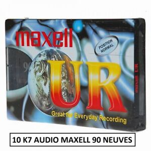 10 K7 CASSETTES AUDIO VIERGE MAXELL UR90 Minutes TYPE I (cassette neuve)