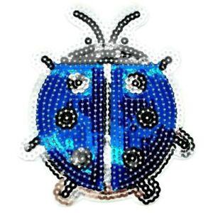 Parche Ladybug Azul Big Ladybird Lentejuelas Planchar Escarabajo Brillante