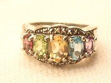 Estate Vintage Sterling Silver CNA Signed Rainbow Gemstone Topaz Ring