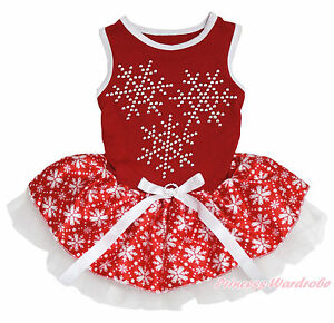 Xmas Christmas Red Sleeveless Rhinestone White Snowflake Skirt Pet Dog Cat Dress