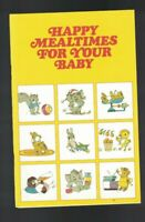 Happy Mealtimes for Your Baby Booklet Beech-Nut Baby Food 1970s