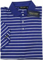NWT $89 Polo Golf Ralph Lauren Blue Striped Short Sleeve Shirt Mens Wicking NEW