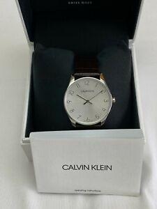 Calvin Klein K7B211C6 Analogue Quartz Watch with Leather Strap - Silver
