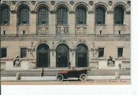 CG-060 MA, Boston, Entrance Public Library Divided Back Postcard Old Car Jalopy