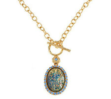 "Kenneth Jay Lane Oval Simulated Blue Opal and Blue Crystals 18-1/2"" Necklace QVC"