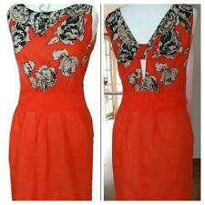 KOOKAI Stunning Orange Cotton / Silk DRESS  size 10 in Excellent Condition