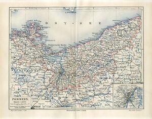 1896 GERMANY POMERANIA now POLAND POMORZE STETTIN / SZCZECIN Antique Map dated