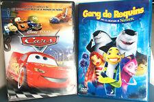 LOT DE 2 DVD POUR ENFANT CARS GANG DE REQUINS comme neuf