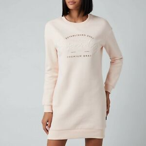 Superdry Established Crew Sweat Dress  Size 10 Bright Blush H1