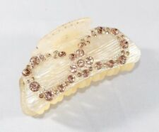 Brand New Adorable Light Brown Bow Tie Hair Clip Claw w/Brown Crystals