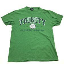 VINTAGE Trinity College Dublin Shirt Size Small S Green Adult Short Sleeve Tee