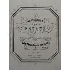 MENDELSSOHN Paulus Oratorio Chant 1836 partition sheet music score