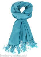 Pashmina Tuch 200x70cm ✿ ICE BLUE ✿ Schal 100% Viskose Stola Shawl écharpe
