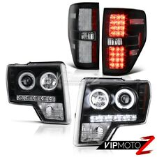 2009-2014 Ford F150 Raptor Style Black CCFL Halo Headlights+LED Brake Tail Light