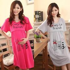 Women Cotton Pregnant Large Cat Lactation Nursing Clothes Maternity Dress GRAY