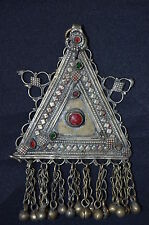 #5 Genuine Old Uzbek Tribal Silver Pendant Cut Glass Insert Triangle Shape