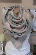 XXL Foulard Frange Sciarpa Plaid a quadri Poncho grigio-rosa caldo blogger