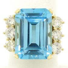 18ct Oro Amarillo 21.76ctw Corte Esmeralda Rico Topacio Azul Grande Diamante