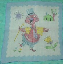Vintage DUCK Dressed Up and Dancing Childrens 1950s Novelty Hankie Handkerchief