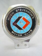1960s VINTAGE RENAMEL HUGH STEVENSON'S MOTOR CLUB CHROME/ENAMEL CAR BADGE