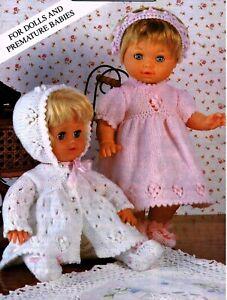 "Knitting Pattern DK Baby Dolls Clothes 12 - 22"" Coat, Dress, Headband, Leggings"