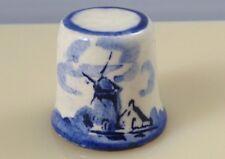 Vintage Delft Porcelain Windmill Thimble Painted Cobalt Blue White Sewing