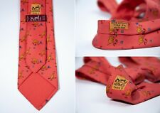 Men's Hermes France 7784 FA Pink Stars And Dogs 100% Silk Tie