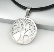 Silver Celtic Tree Of Life Pearl Pendant Womens Mens Black Leather Cord Necklace