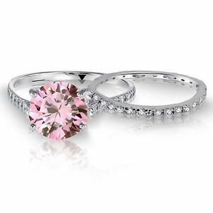 Round Pink Sapphire Wedding Engagement Eternity Sterling Silver Ring Set