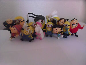 DESPICABLE ME MINION SOLID 14 PCS TOY FIGURE SET/ CAKE TOPPERS NEW UK SELLER