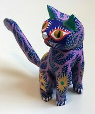 Lot 2 Alebrije Carved Hand Painted Wood Figures CAT FISH Folk Art Mexico Signed