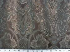 Cortinas Tela para Tapizar Large-Scale Jacquard Floral - Marrón/Verde Azulado