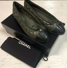 d9ce841f5ae CHANEL Green BLACK LEATHER QUILTED CAP TOE BALLET BALLERINA FLAT SHOES 38  NIB