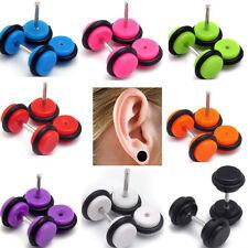 PAIR OF ACRYLIC FAKE EAR PLUGS CHEATER STUD EARRINGS UK SELLER