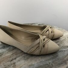 Gianni Bini Tan Beige Ballet Flats Women's Sz 7.5 Pointy Leather Career Gold -K