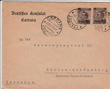 REGNO-Due 50 su 40c(139)-Busta Carrara->Berlino 28.1.1924