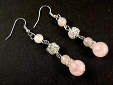 Rose Quartz Gemstone Platinum Plated Earrings with Rhinestones Beads #B106