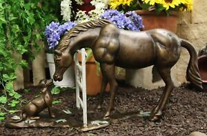 Aluminum Large Countryside BFF Buddies Horse and Dog by Barn Fence Garden Statue