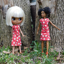 Red Spring Daisy Mod Dress - Cute Everyday Blythe Barbie and Fashion Doll Outfit